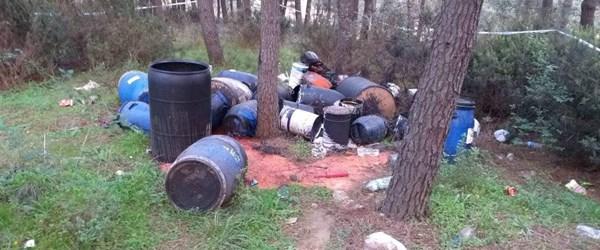 İstanbul'da ormanlık alanda kimyasal atık