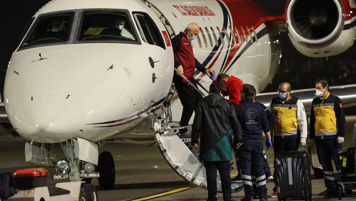 Nedim Özbey, ambulans uçakla Türkiye'ye getirildi