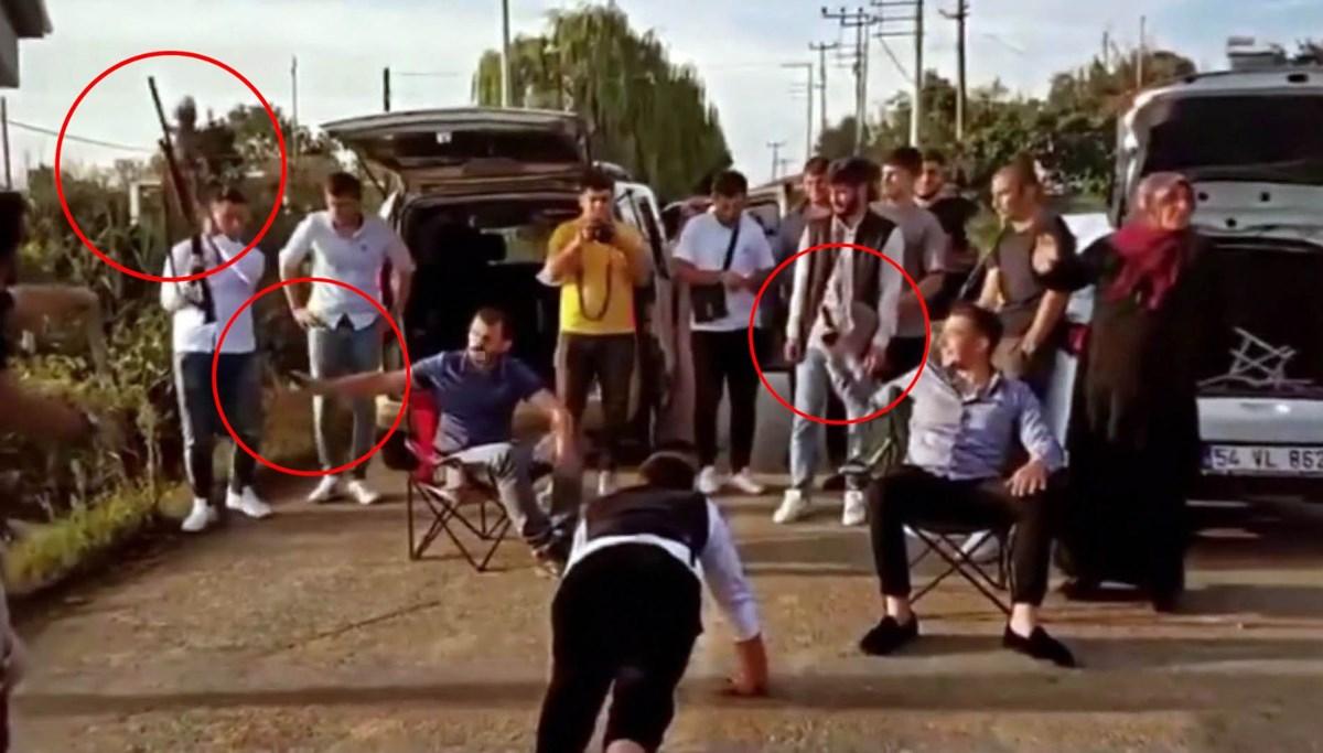 Düğün 'eğlence'si: Arkadaşları havaya kurşun sıktıkça damat şınav çekti