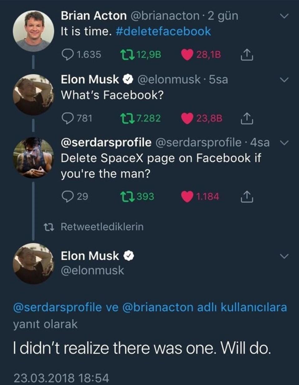 Twitter'dakitakipçilerinin yoğun isteği üzerine 46 yaşındaki milyarder girişimci 2 buçuk milyondan fazla takipçisi bulunanTeslaveSpaceX'in resmi Facebook hesaplarını silmişti