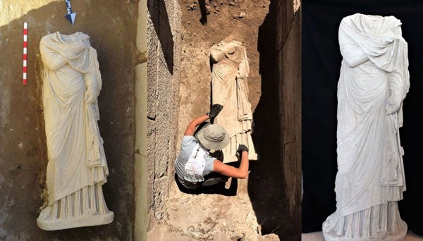 Patara'da1900 yıllık kadın heykeli bulundu
