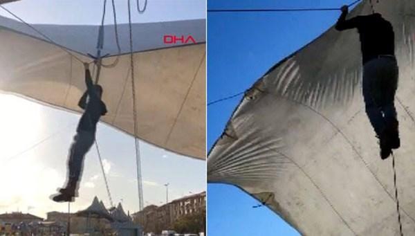 İstanbul'da fırtına pazarcıyı böyle uçurdu
