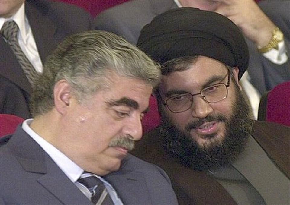 2005 yılında bir suikaste giden Refik Hariri ile Hizbullah lideri Hasan Nasrallah.