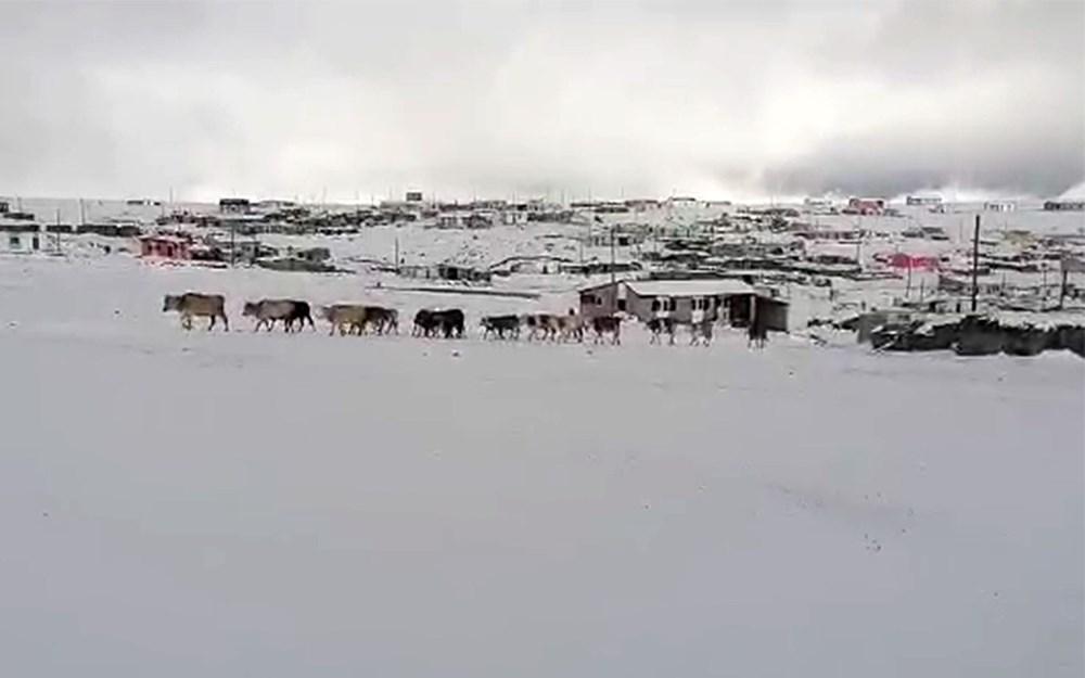 Kar etkili oldu: Yaylacıların dönüş hazırlıkları erken başladı - 7