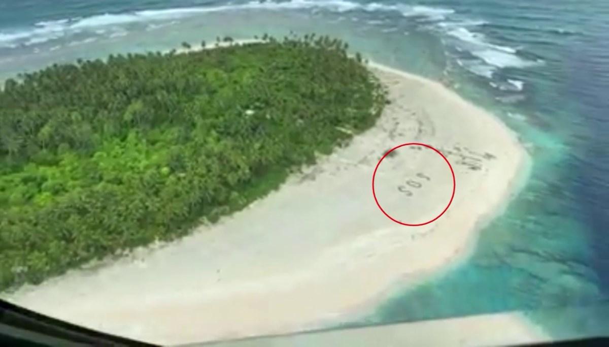 Kumsala yazdıkları SOS mesajı sayesinde kurtuldular