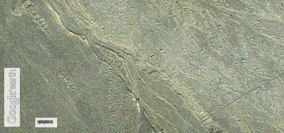 Uydu görüntülerinde çok fazla dikkat çekmeyen alanın genişliği sekiz kilometre.