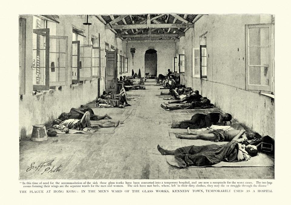 Veba salgını kurbanları için geçici hastane, Hong Kong, 1894