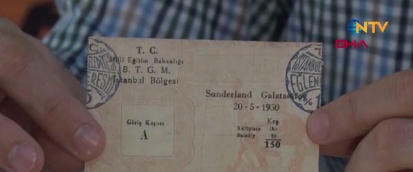 GS biletlerinden koleksiyon (1950'de oynanan GS-Sunderland maçının bileti de var)