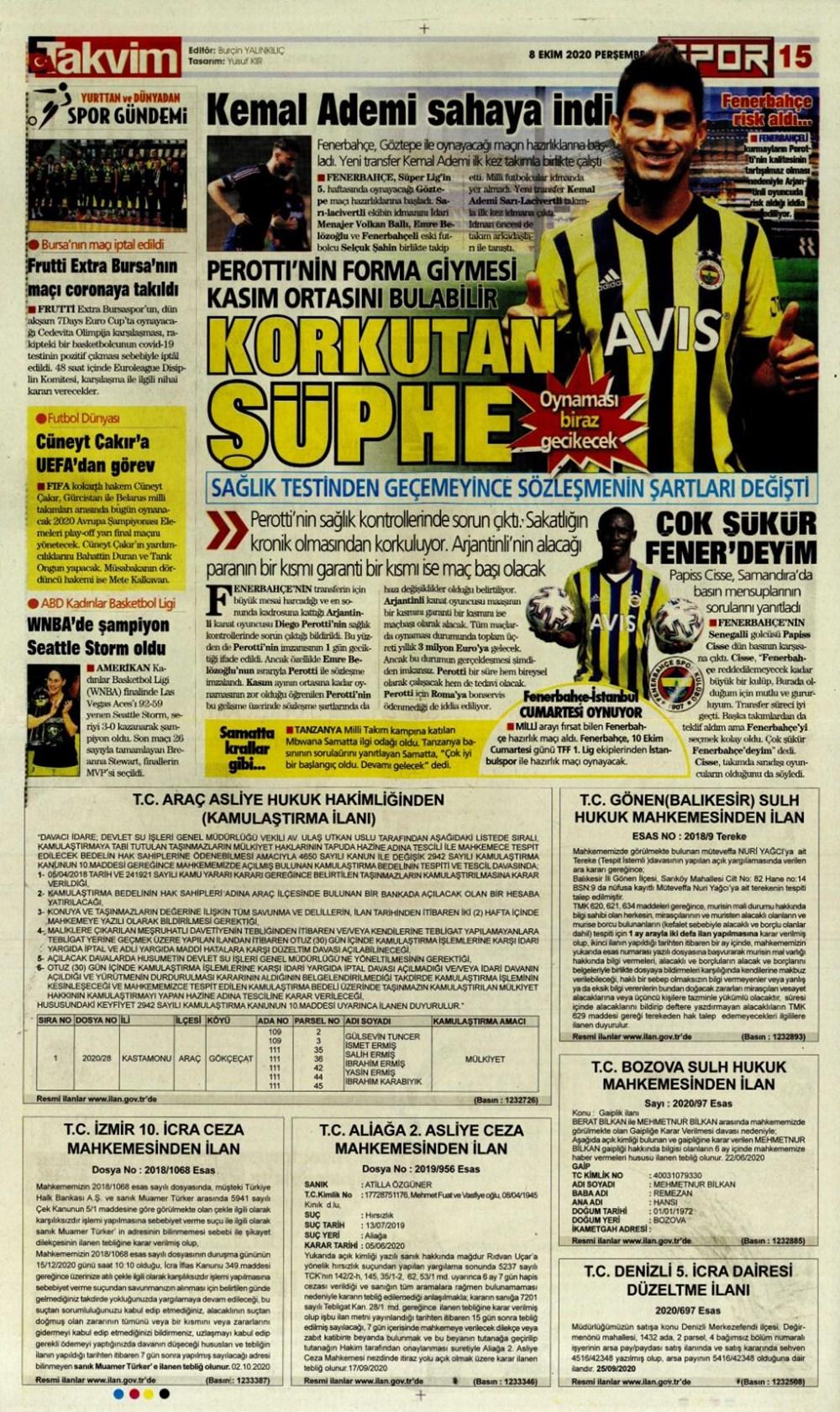 Günün spor manşetleri (8 Ekim 2020) - 12