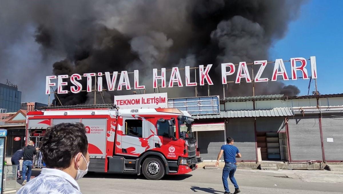 SON DAKİKA HABERİ: Antalya Festival Çarşısı'nda yangın