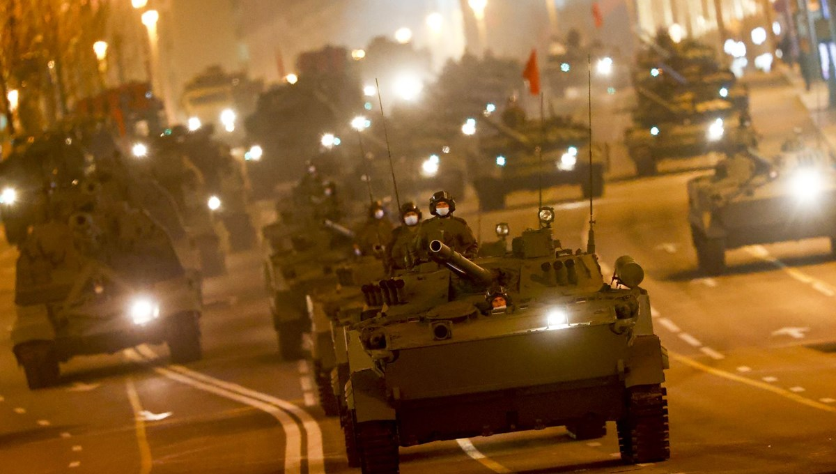 First night rehearsal of military parade in Moscow