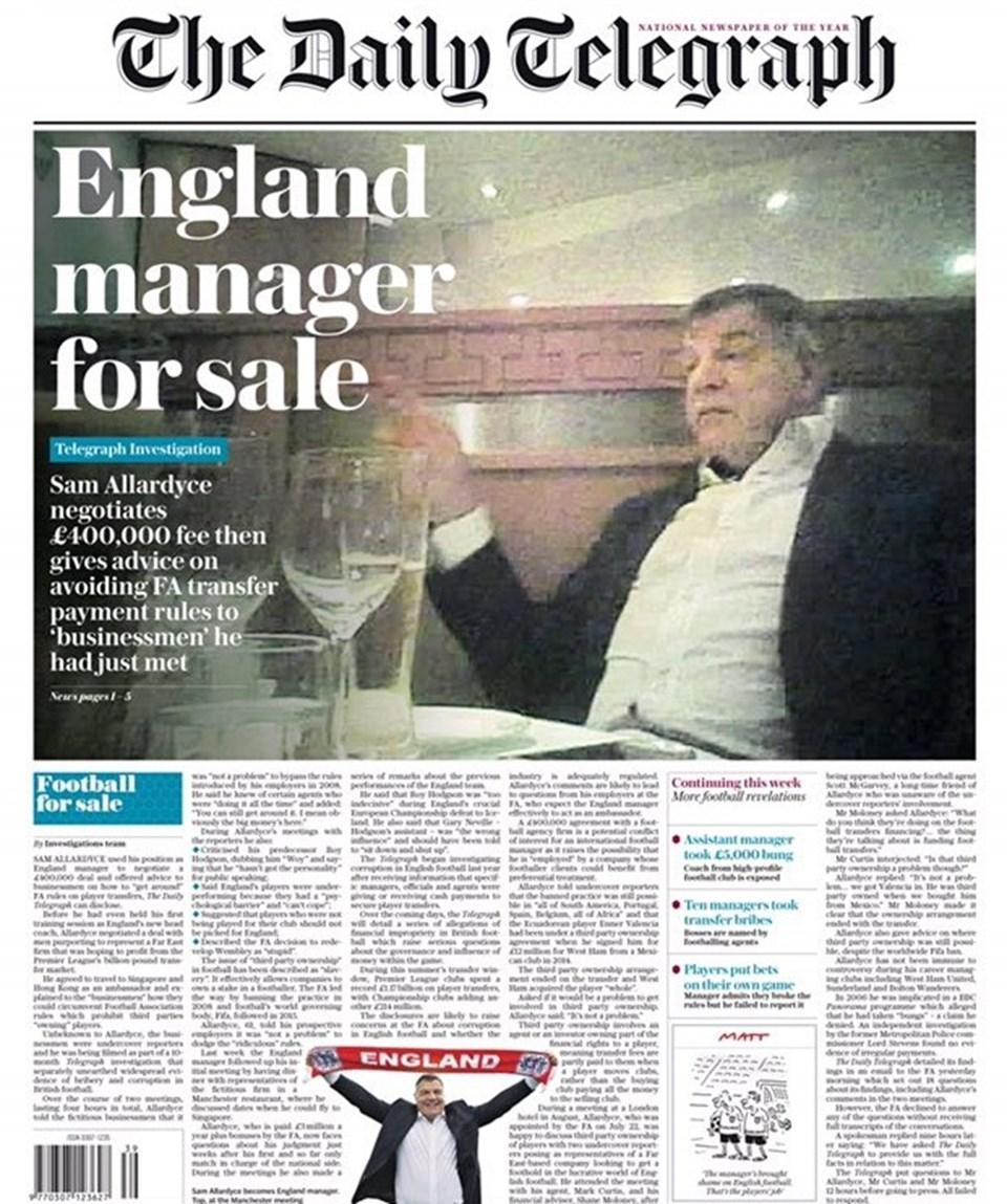 The Telegraph gazetesinin manşeti