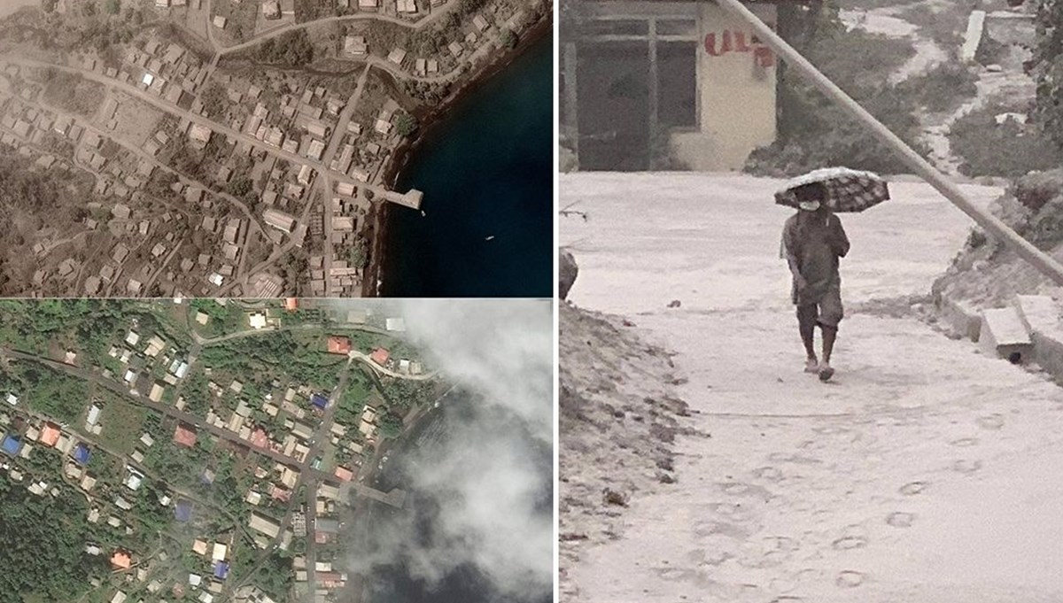 Volcano eruption in the Caribbean: ashes covered the island