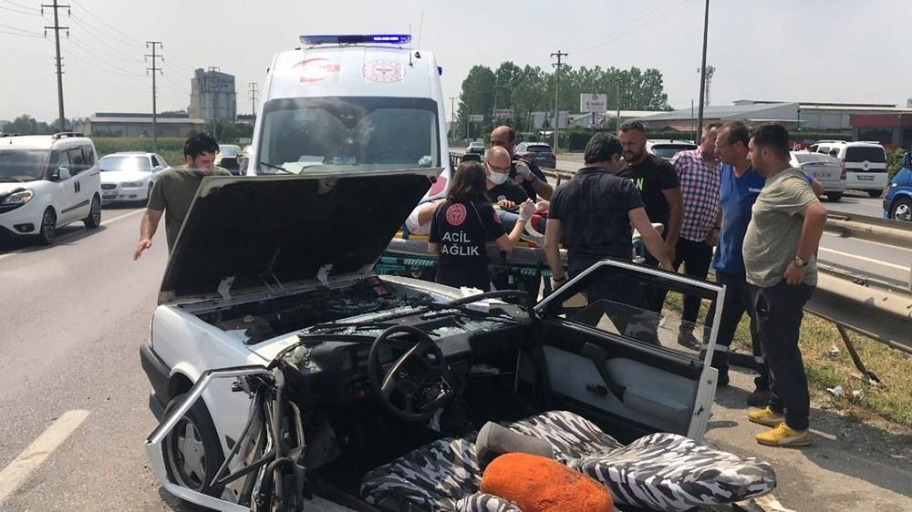 E-5'teki kazada otomobil ikiye bölündü - 6