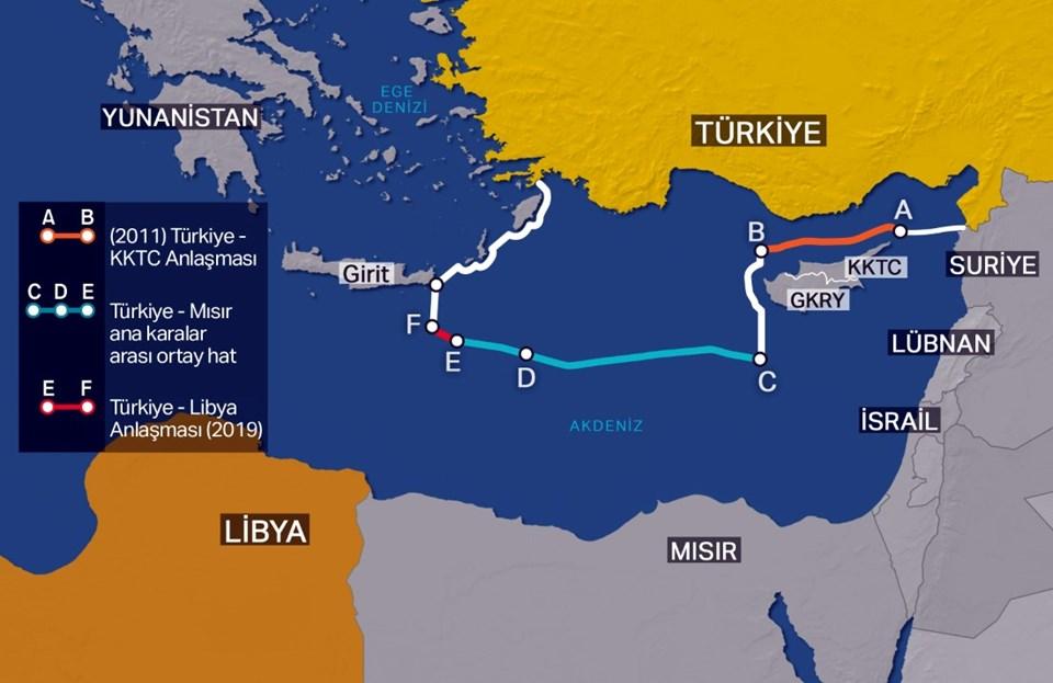 Libya ile varılan son mutabakattan sonra Türkiye'nin Doğu Akdeniz'deki kıta sahanlığı ve münhasır ekonomik bölge (MEB) sınırlarını gösteren harita