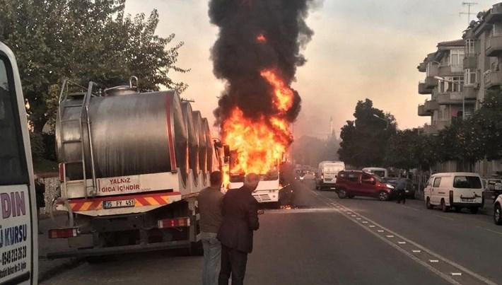 Alev alan öğrenci servisinde patlama (Faciadan dönüldü)