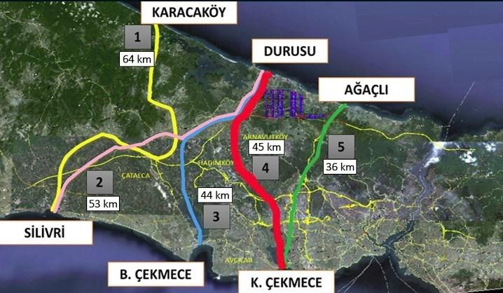 Kanal İstanbul'un yapılacağı Küçükçekmece-Durusu hattı (Kırmızı ile belirlenmiş olan)