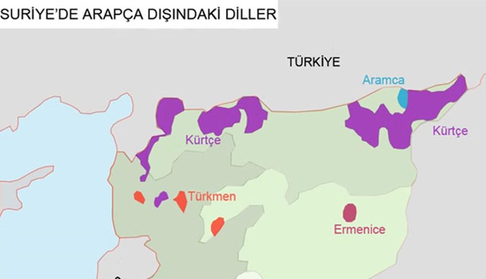 Suriye'nin en büyük azınlığını oluşturan Kürtlerin yoğun olarak yaşadığı bölgeler. (Grafiği büyütmek için tıklayın)