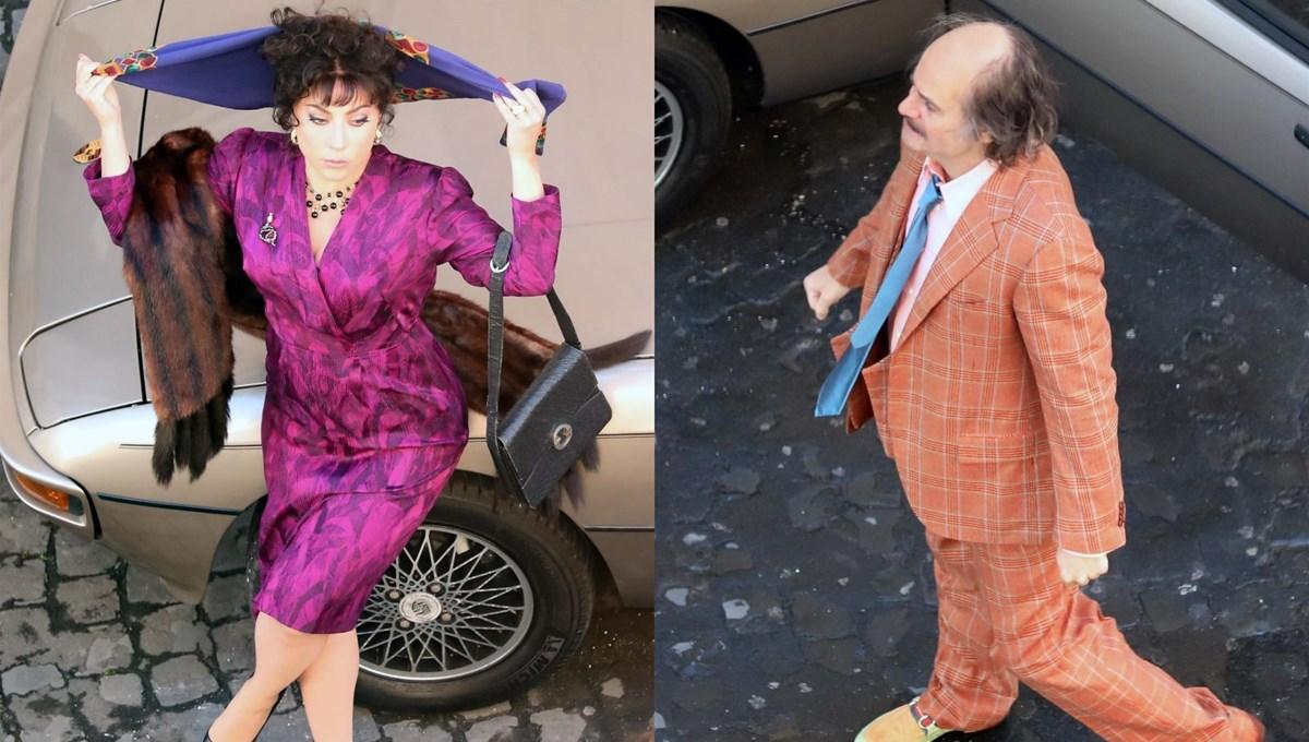 Lady Gaga ve Jared Leto House of Gucci'nin setinde tanınmaz halde