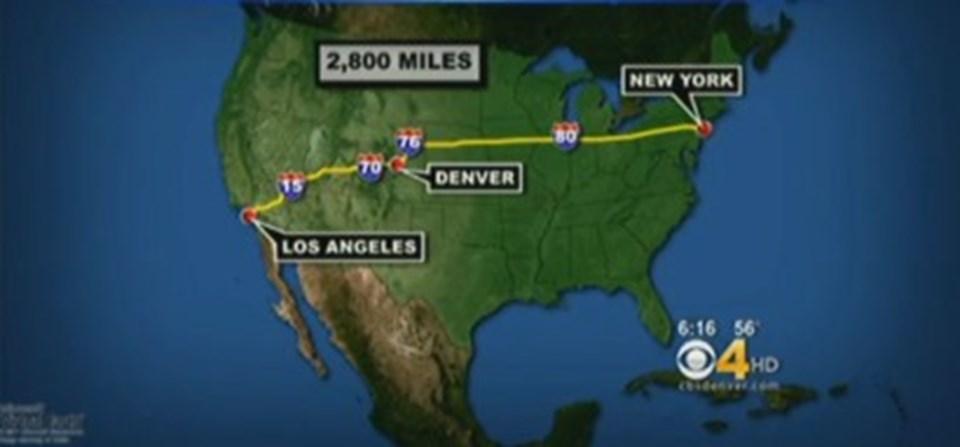 New York'ta başlayan yolculuğun haritası