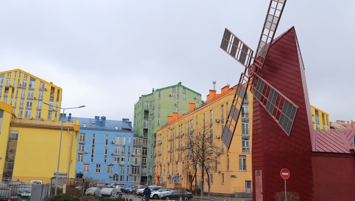 Colorful buildings in Kiev attract attention