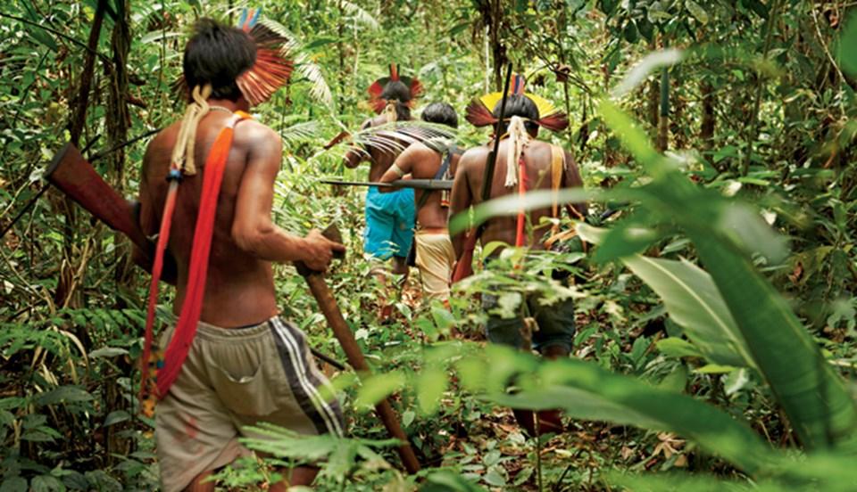 Av peşindeki bir grup Kayapo savaşçısı.