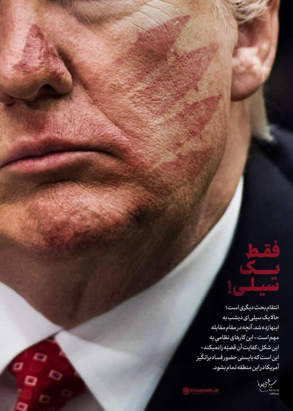 İran dini lideri Ali Hamaney Farsça'daki resmi internet sayfasında paylaştığı fotoğrafta Trump'ın yüzünde İran'ın balistik füzelerini çağrıştıran tokat izi bulunuyor.
