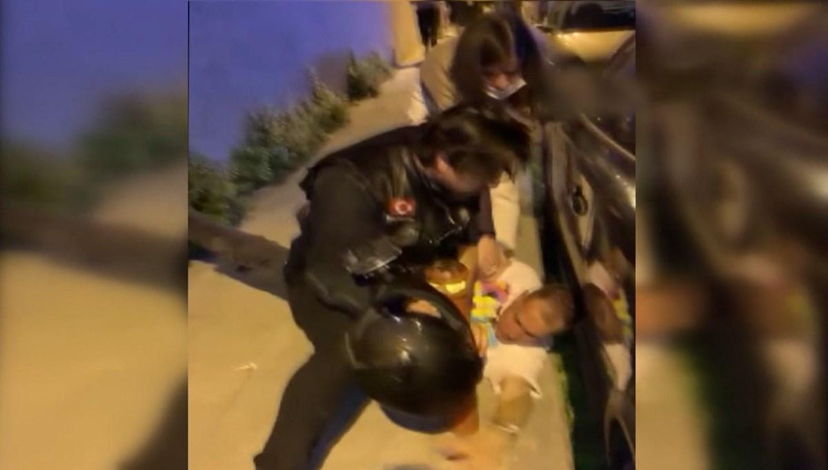 Sokak ortasında dövülen kadını motosikletli grup kurtardı