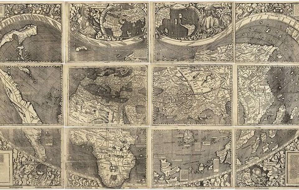 Waldseemueller'in çizdiği Dünya haritası.