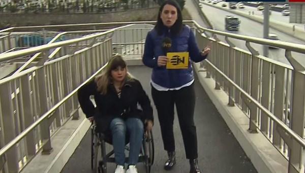 Küçükyalı'daki üst geçitte engelli rampasına çıkış var iniş yok