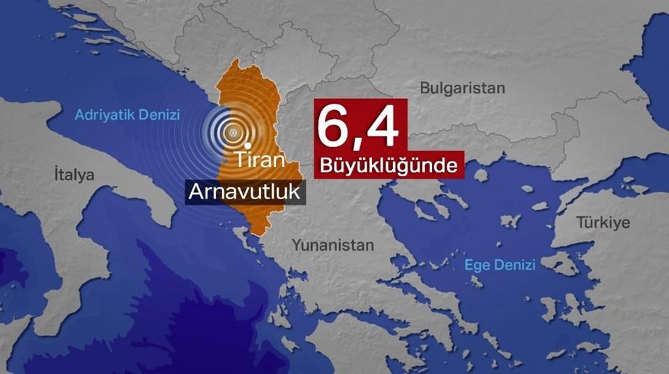Arnavutluk'taki deprem başkent Tiran'ın yakınlarında meydana geldi.