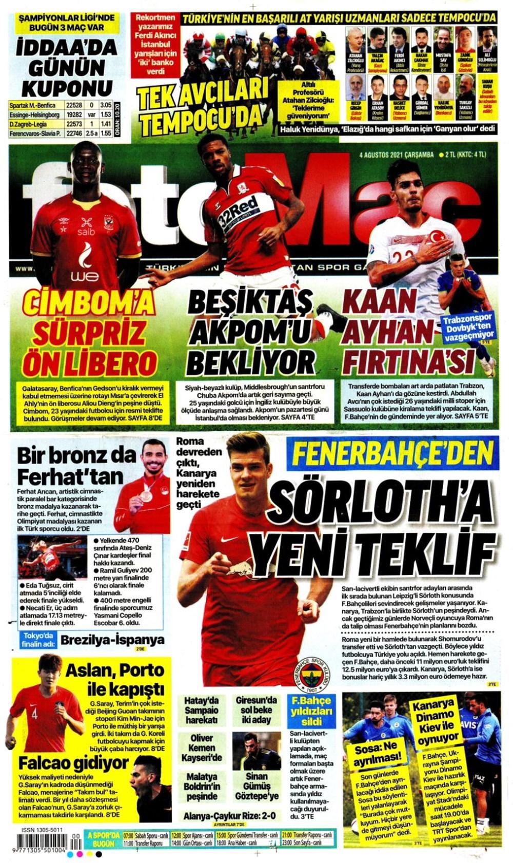 Günün spor manşetleri (4 Ağustos 2021) - 4