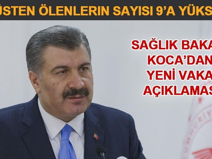 Türkiye'de Corona virüsten ölenlerin sayısı 9'a yükseldi (Bakan Fahrettin Koca açıkladı)