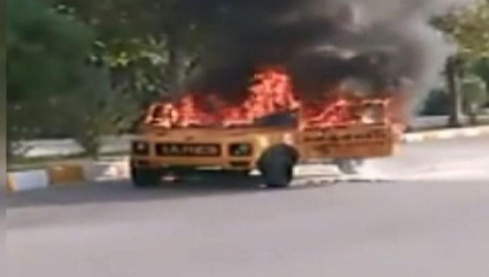 Üniversite öğrencilerinin tasarladığı TÜBİTAK ödüllü araç yandı