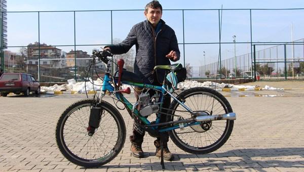 Otomobil alamayınca bisikletine motor taktı