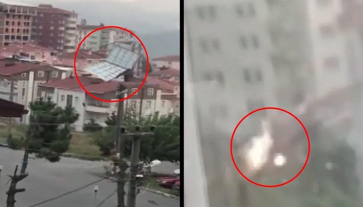 Fırtınada uçan çatı elektrik tellerini kopardı