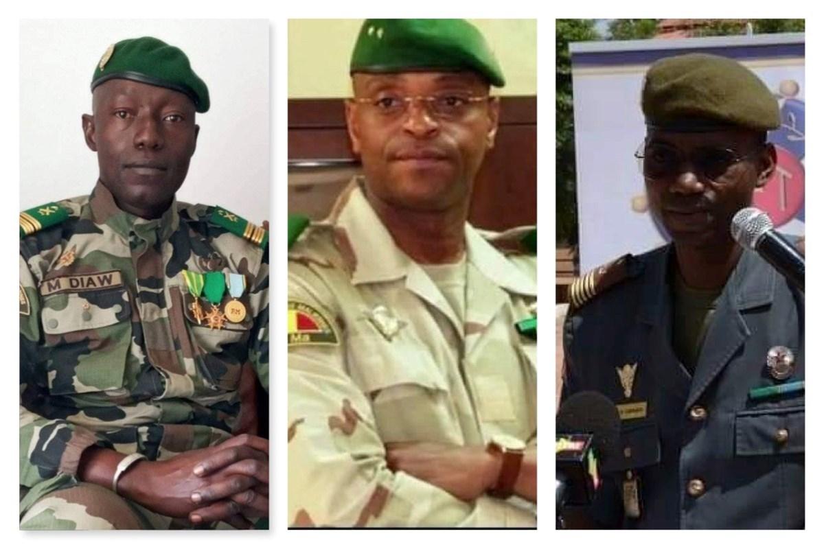 Mali darbesinin arkasındaki isimler: Soldan sağa: Albay Malick Diaw, Tuğgenereal Dembele ve Albay Sadio Camara.