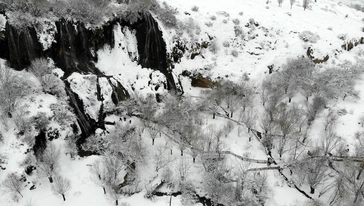 Erzincan'da beyaza bürünen Girlevik Şelalesi ziyaretçilerine görsel şölen sunuyor