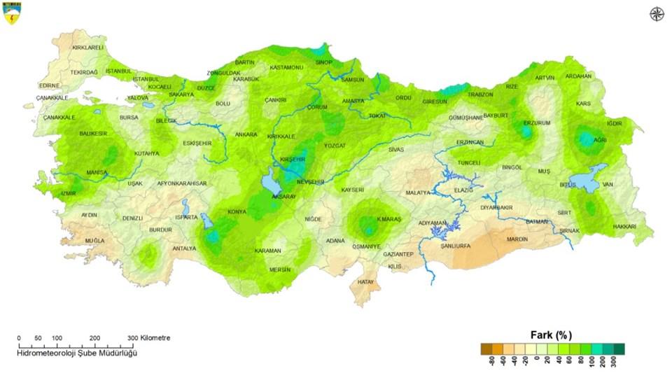 2021 Mart ayı yağışlarının normalleri ile karşılaştırılması