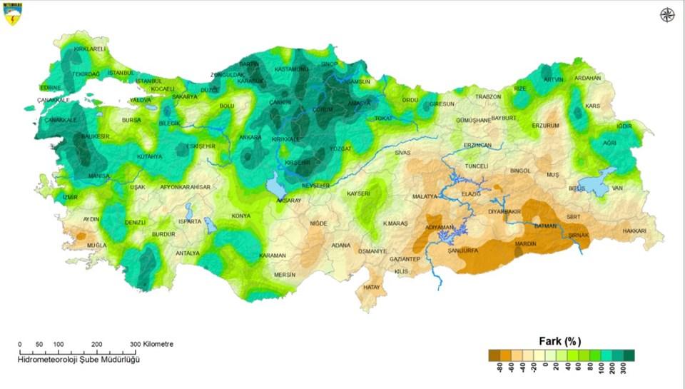 2021 Mart ayı yağışların geçen yıl ile karşılaştırılması