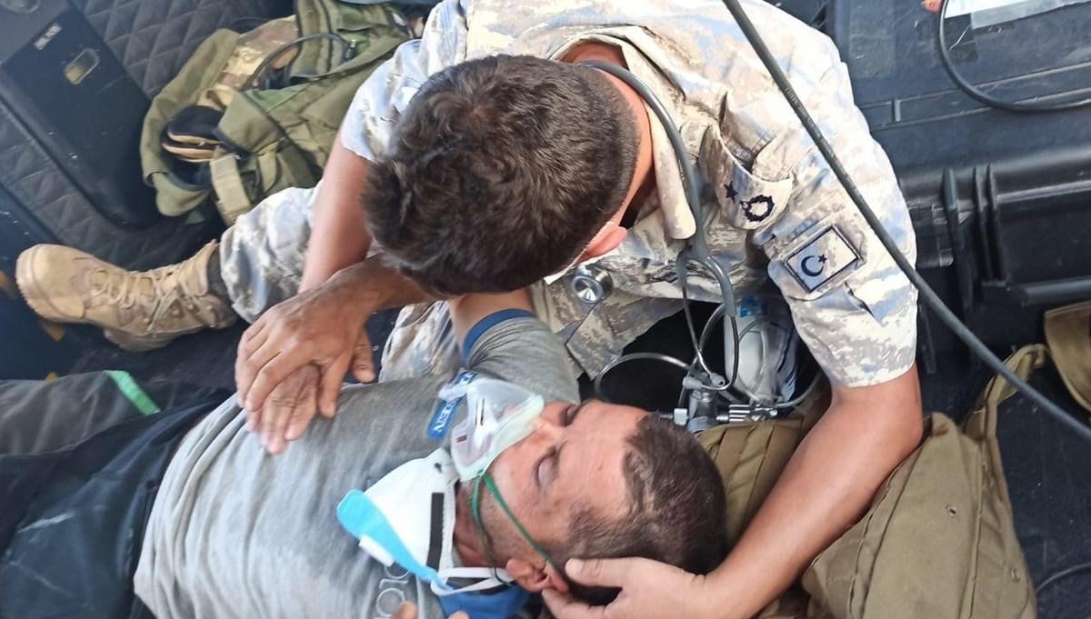 Milas'ta yangın bölgesinde mahsur kalan kişi Hava Kuvvetleri Komutanlığı helikopteriyle kurtarıldı