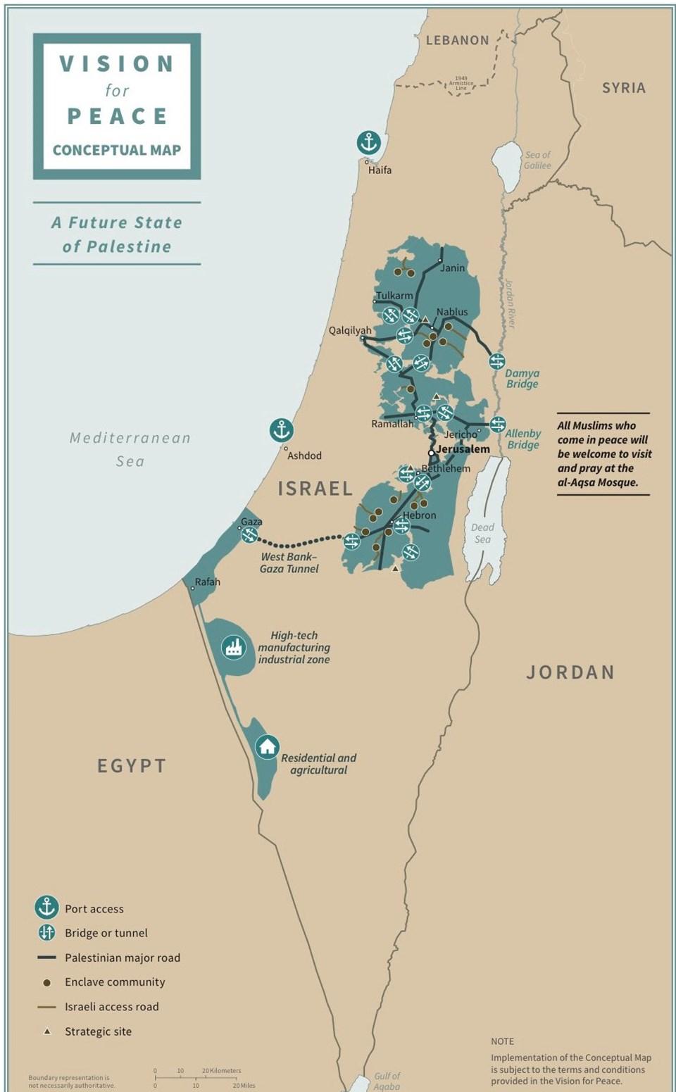 ABD Başkanı Donald Trump, tek taraflı Ortadoğu barış planı kapsamında öngörülen İsrail ve Filistin devletlerinin sınırlarını gösteren bir haritayı paylaştı.
