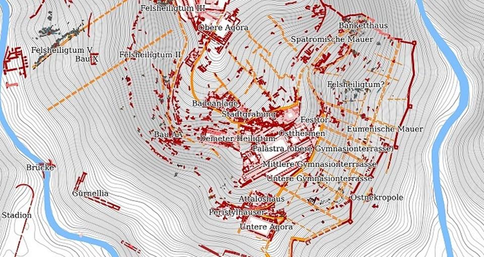 İnteraktif özellikli dijital haritalara, Alman Arkeoloji Enstitüsü internet adresinde ulaşılabiliyor.