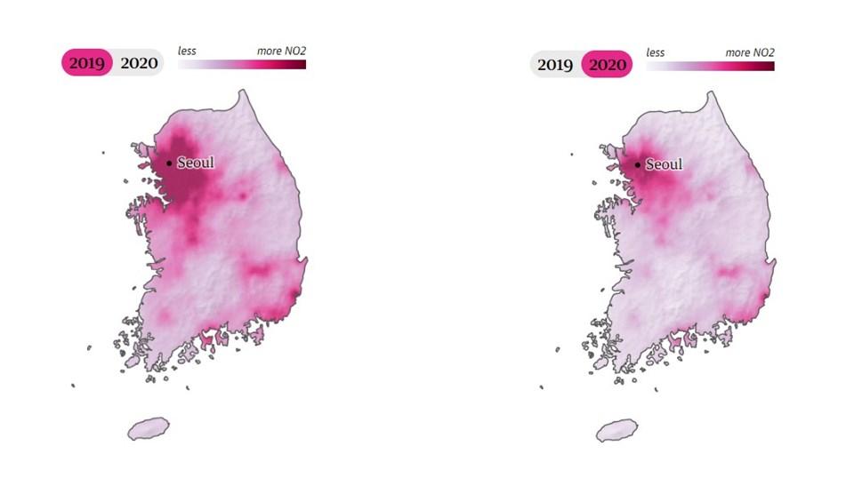 Güney Kore'dekihava kirliliği oranı uydu fotoğraflarına böyle yansıdı