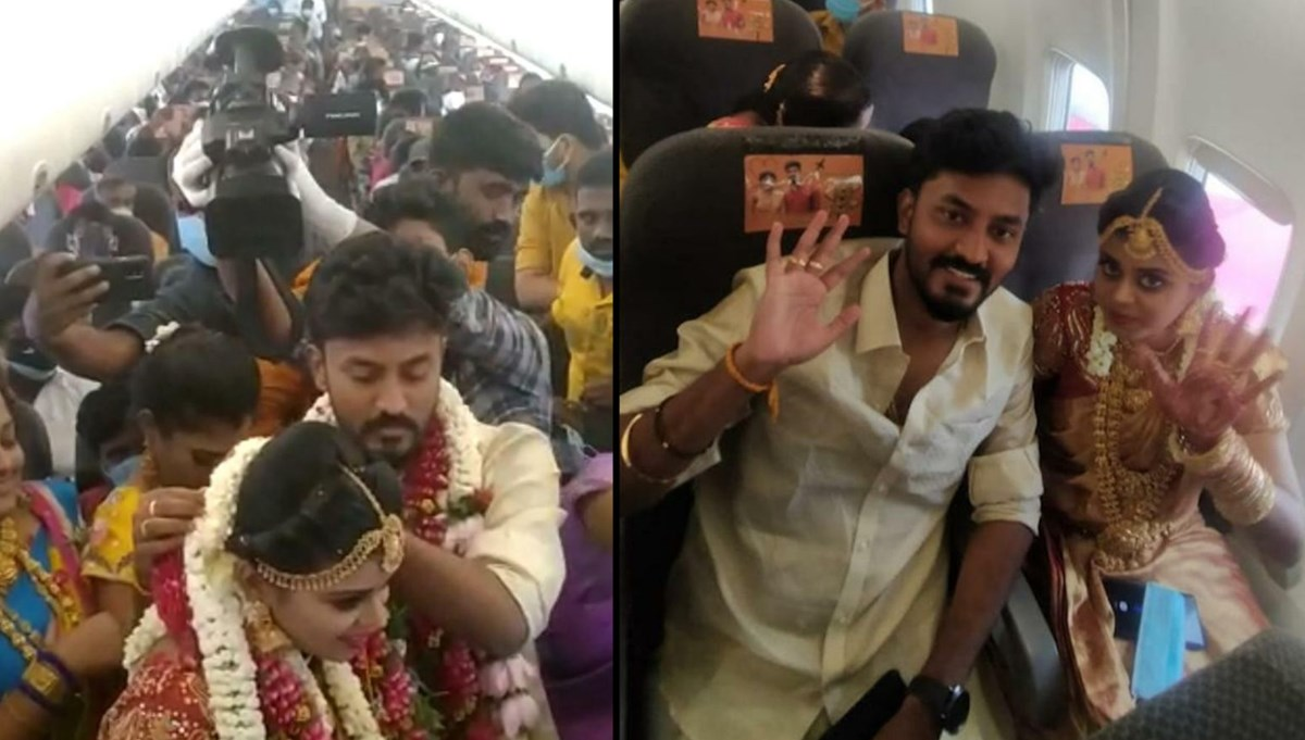 Virüs kısıtlamalarından kaçmak için uçakta düğün yaptılar