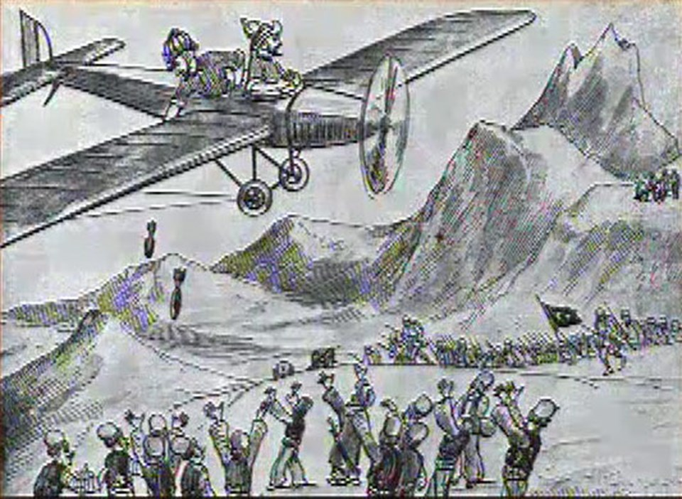 1925: Karagöz'le Hacivat teyyareden aşağıya bir şeyler atarlar. Aşağıda da Kürtler vardır. 'Ekmek diye yalvarmayın zaten atıyorlar' denir ama oysa atılan bombadır