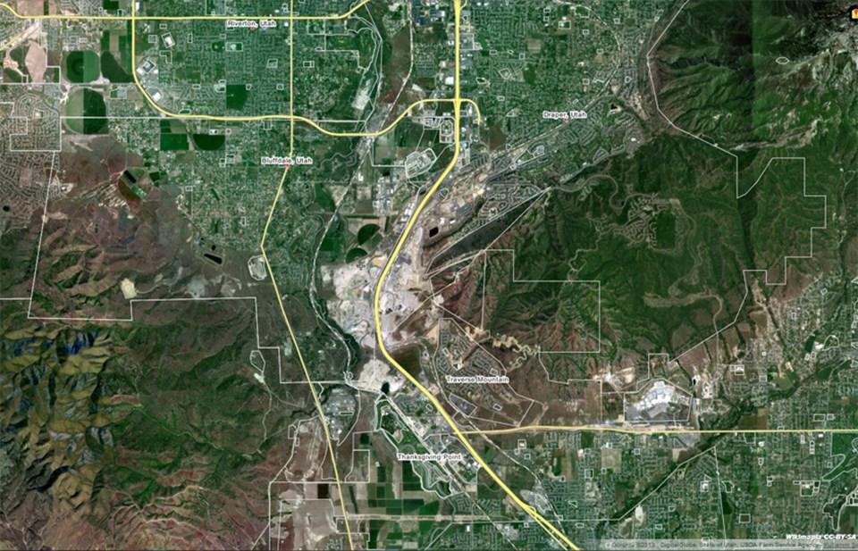 Bluffdale'in uydudan görünümü.