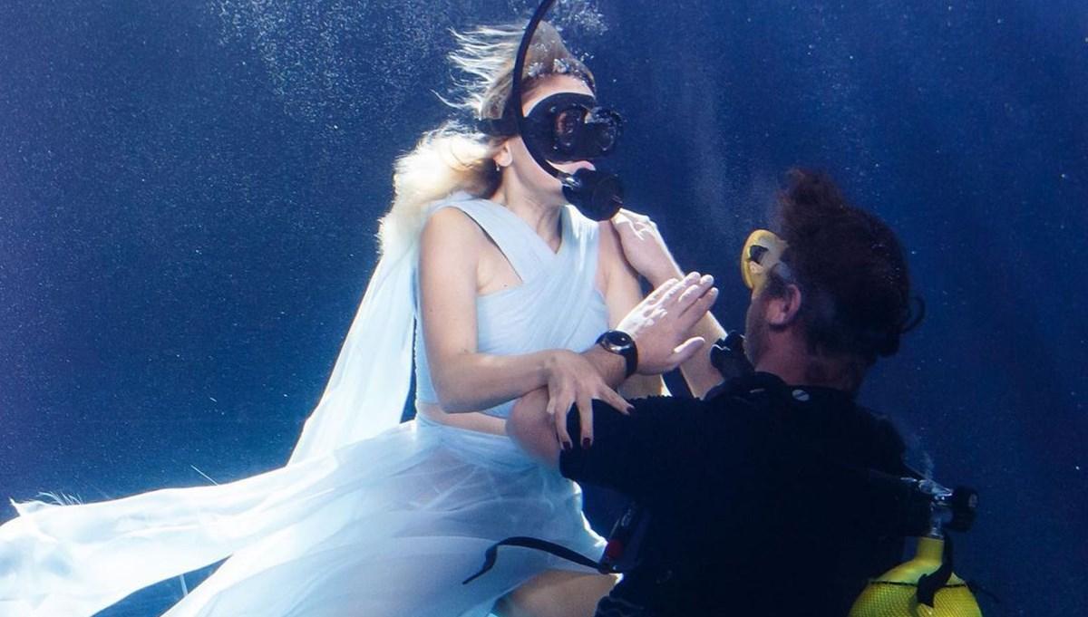 Hadise Coş Dalgalan klibi için elbisesiyle havuza daldı
