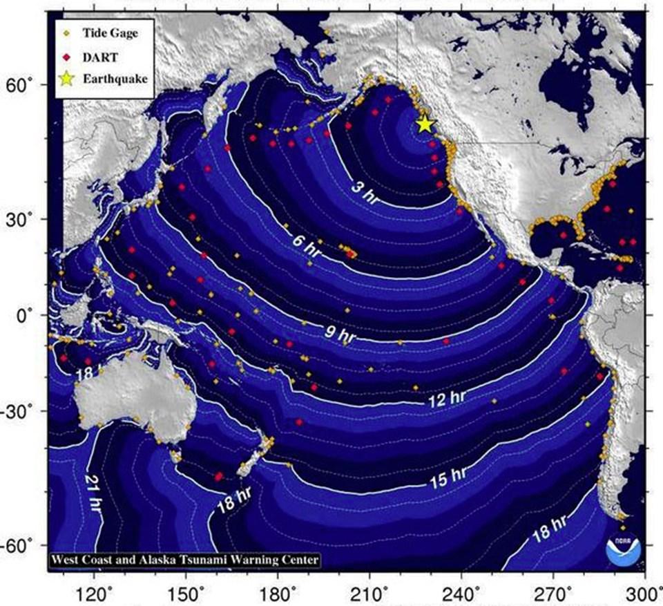 Tsunami Uyarı Merkezi, dalgaların kıyılara ne kadar sürede ulaşacağına dair bir grafik yayımladı.