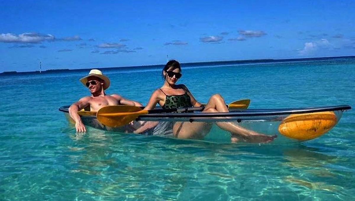 Hande Erçel ve Kerem Bürsin'den Maldivler tatili fotoğrafları